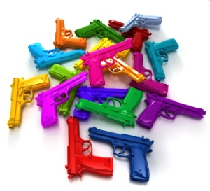 Heap of guns in different bright colors